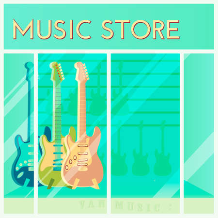 guitars for sale hanging in a music store. shopping background. Cartoon style. Retail store window. Vector illustration. Иллюстрация