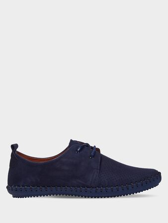 Men's suede blue summer shoes with perforation and elastic black sole. Isolated on a white background.