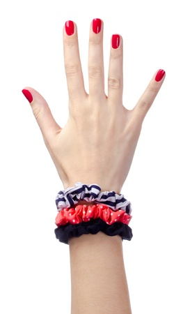 Human hand with red nails Stock Photo - 13599440