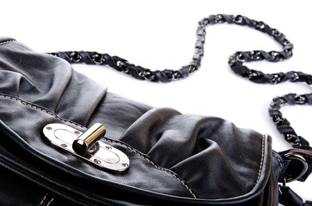 accesories: Black purse closeup isolated on white Stock Photo