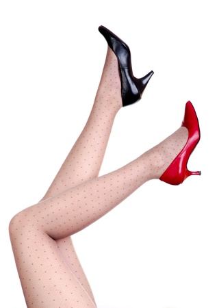 Black and red shoes with white background photo