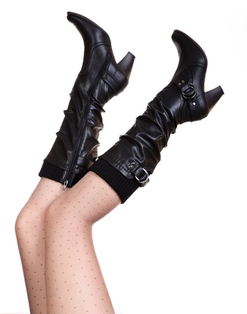 Sexy black boot with white background Stock Photo - 13599688