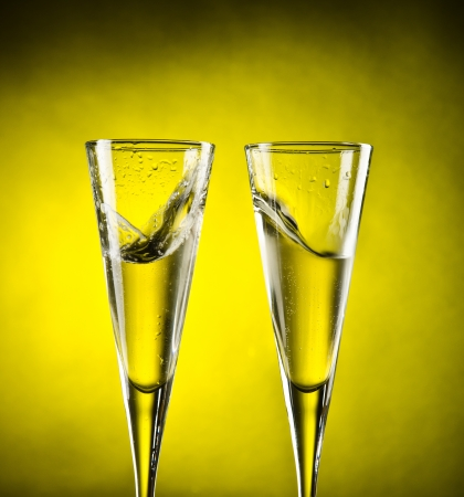 Celebration toast with to glass of champagne Stock Photo - 13601029