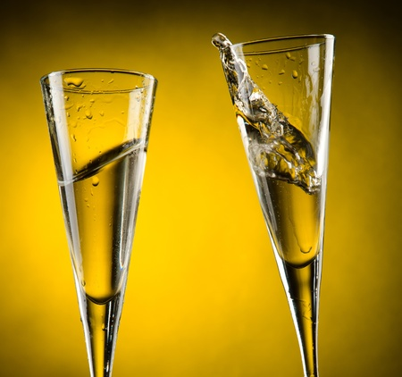 Celebration toast with to glass of champagne  Stock Photo - 13599685