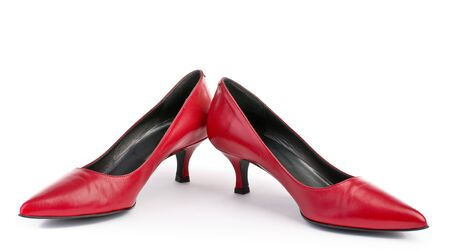 fetish wear: Red shoes isolated on white