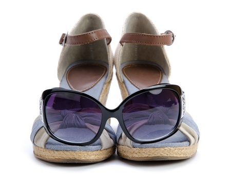 Sandal with sunglasses isolated on white Stock Photo - 13601707