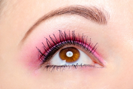 ceremonial make up: Pink eye makeup close up Stock Photo