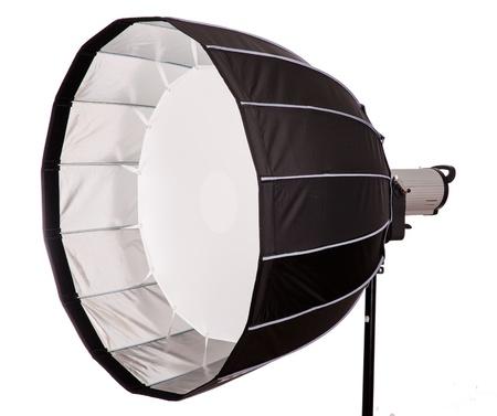 monolight: Studio strobe with softbox isolated on the white