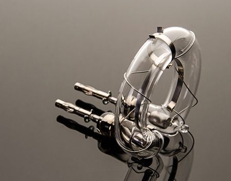 preamp: Flash tube with grey background Stock Photo