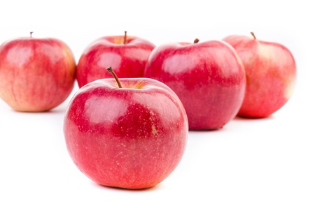 character traits: Red apples with white background Stock Photo