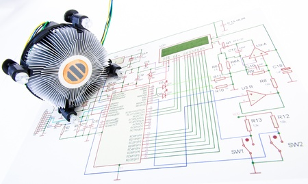 CPU cooler with electronic diagram isolated photo