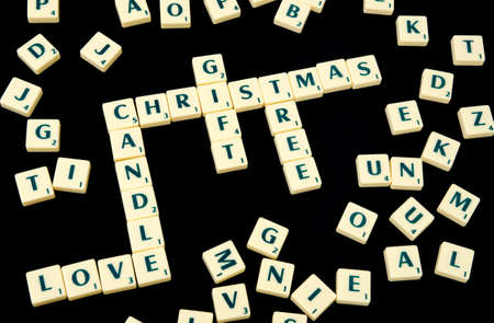 Play blocks, christmas words and other letters photo