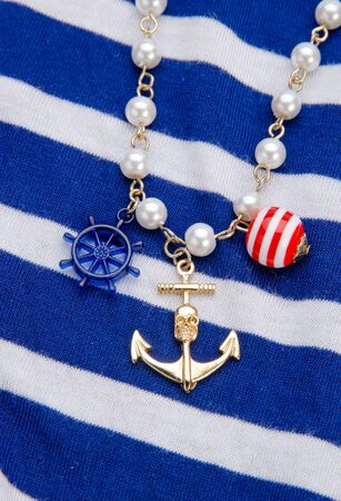 Necklace with anchor blue striped photo