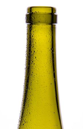 Wine bottle close-up isolated on white photo