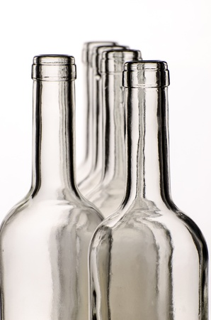 Wine bottles with white background photo