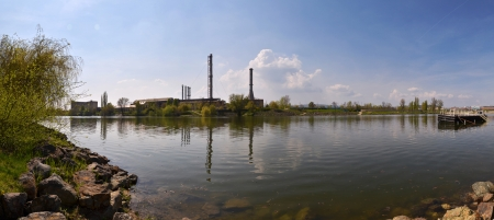 Factory with river panorama view photo