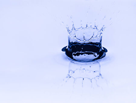 Drop of water with blue background photo