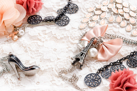 Beautiful accessories with eiffel tower and shoe photo