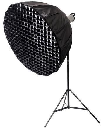 strobe: Strobe with umbrella isolated on white