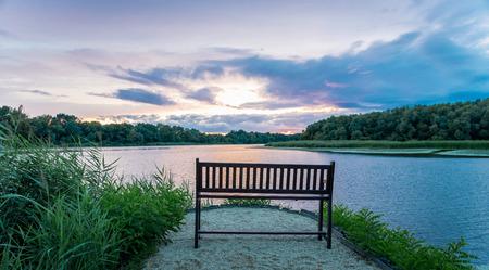 湖畔の熟考 写真素材