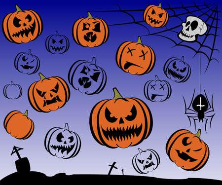 Happy Halloween theme icon set. Vector illustration. Stock Vector - 21376476