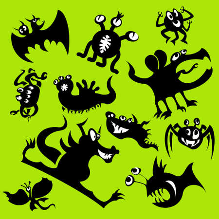 Cartoon funny monsters silhouettes. Vector set Vector
