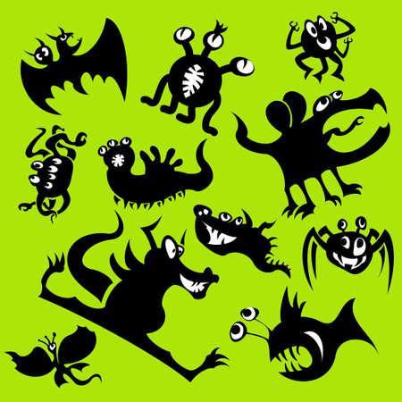 Dibujos animados divertidos monstruos siluetas. Conjunto de vectores Vectores