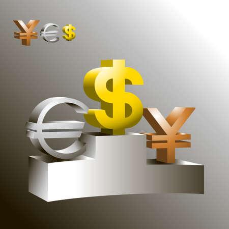 Dollar, Euro, Yen signs with Podium Vector