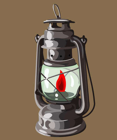 kerosene: kerosene lamp burning on a brown background Illustration