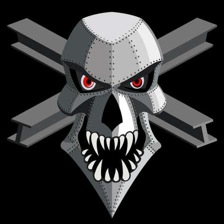 iron skull on black. vector Stock Vector - 21937998