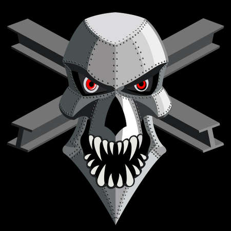 iron skull on black. vector Stock Vector - 21937998