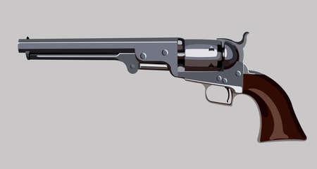Old revolver pistol Illustration