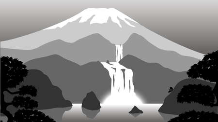 lake with a waterfall on the background of the volcano Illustration