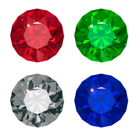 Jewel set  Vector illustration Ruby,brilliant,saphire,emerald