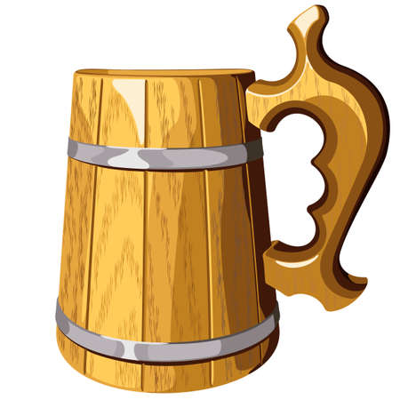 wooden beer mug vector illustration isolated on  background