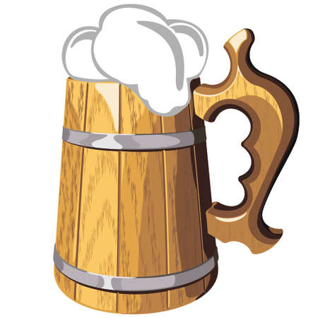 Wooden beer mug with a beer  vector illustration isolated on  background Vector