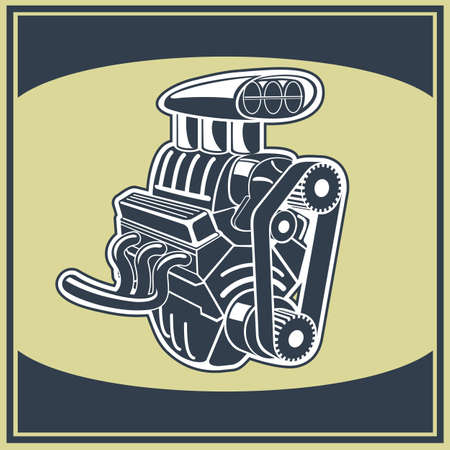 Drawing old engine on graph vintage  Vector background