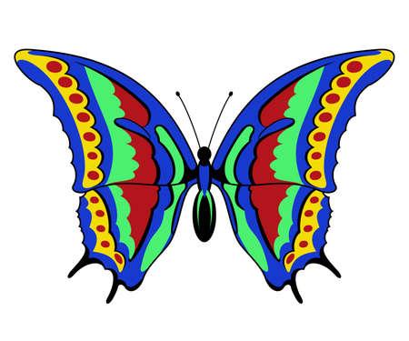白い背景のクリップアートにベクトル蝶  イラスト・ベクター素材