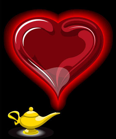 jinn: Alladin l?mpara con corazones en ilustraci?n vectorial