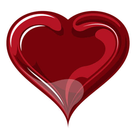 red glass vector heart on a white background