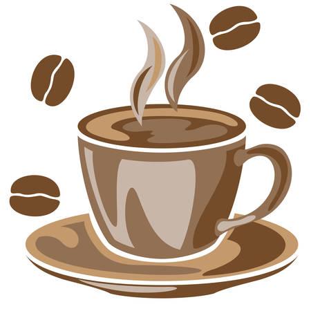 Una humeante taza de caf� y granos de caf� de dibujo