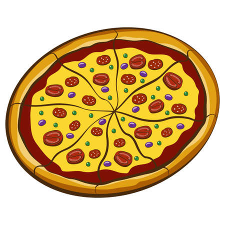 crumb: Big Pizza Bolognese isolated over white background Illustration