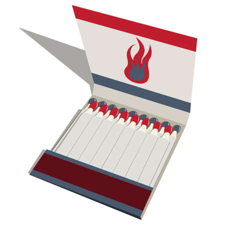 Vector drawing of a matchbook with matches.  Vector