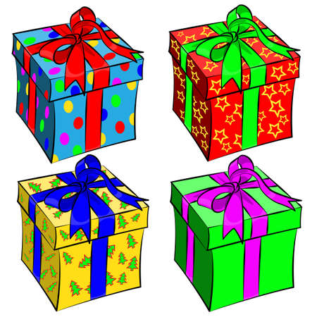 illustration of colorful gift box on white background