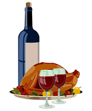 vino: Thanksgiving Turkey with Fruits and Vino. Isolated Vector Illustration.