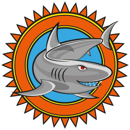 comic illustration of a shark.  Vector