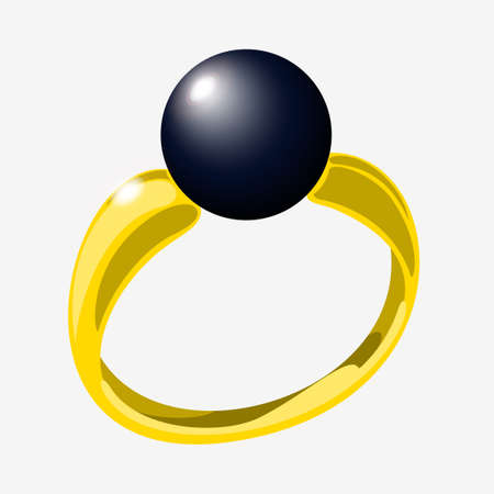 Golden ring with black pearl. Vector illustration