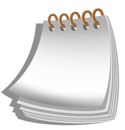 Cuaderno espiral en blanco sobre fondo blanco. Ilustraci�n del vector.
