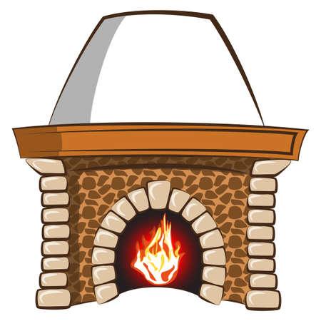 brandweer cartoon: Natuurstenen schouw met vlam gescheiden vector elementen Stock Illustratie