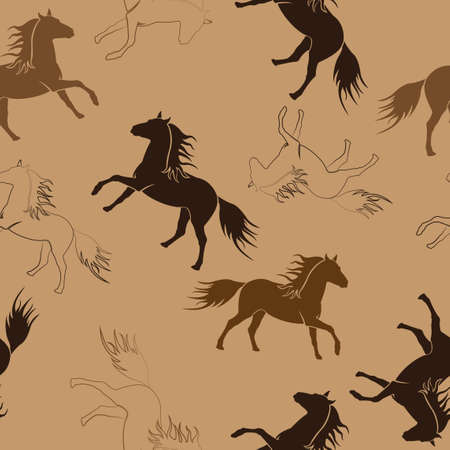 Seamless repeating pattern of running horses. Illustration.